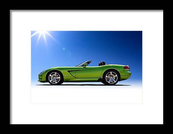 Green Framed Print featuring the digital art Viper Roadster by Douglas Pittman
