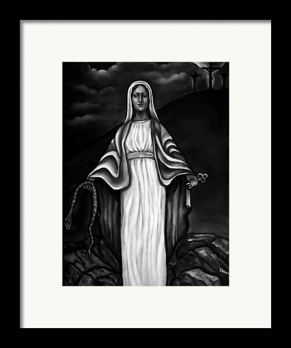 Virgen Mary Framed Print featuring the painting Virgen Mary In Black And White by Carmen Cordova