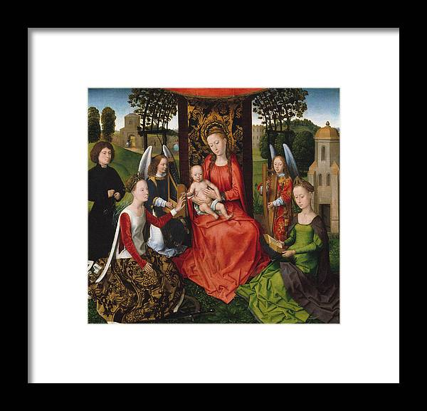 Hans Memling Framed Print featuring the painting Virgin And Child With Saints Catherine Of Alexandria And Barbara by Hans Memling