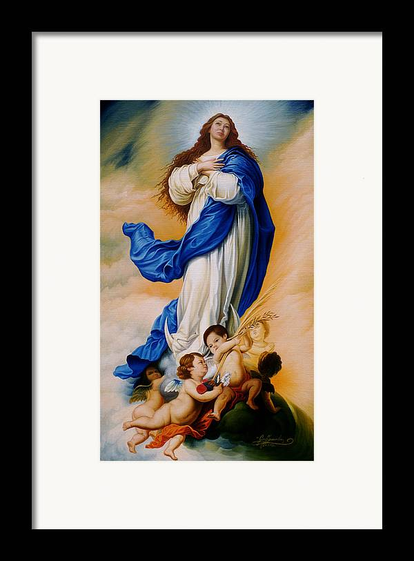 Immaculate Conception Framed Print featuring the painting Virgin Of The Immaculate Conception After Murillo by Gary Hernandez
