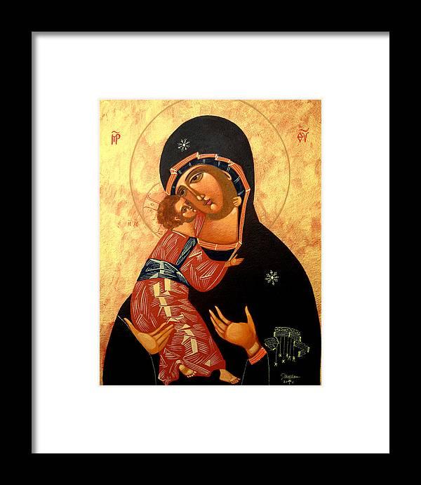 Virgin Of Vladimir Framed Print featuring the painting Virgin Of Vladimir by Joseph Malham