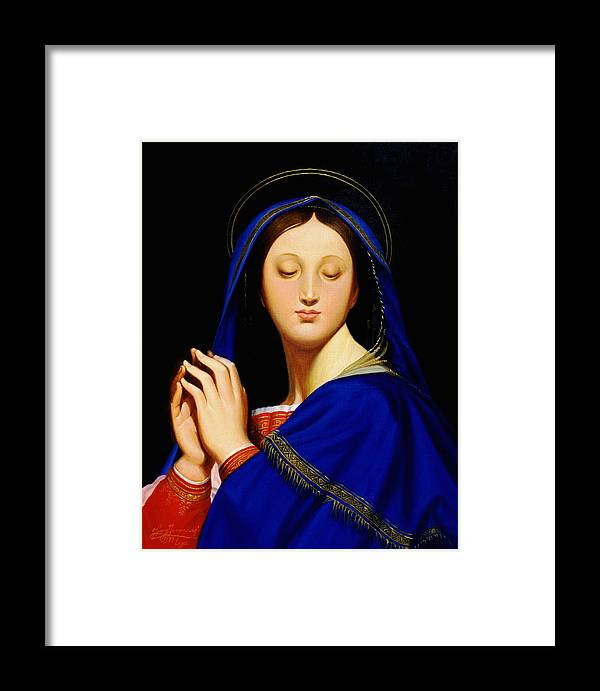 Religious Framed Print featuring the painting Virgin With The Host After Ingres by Gary Hernandez