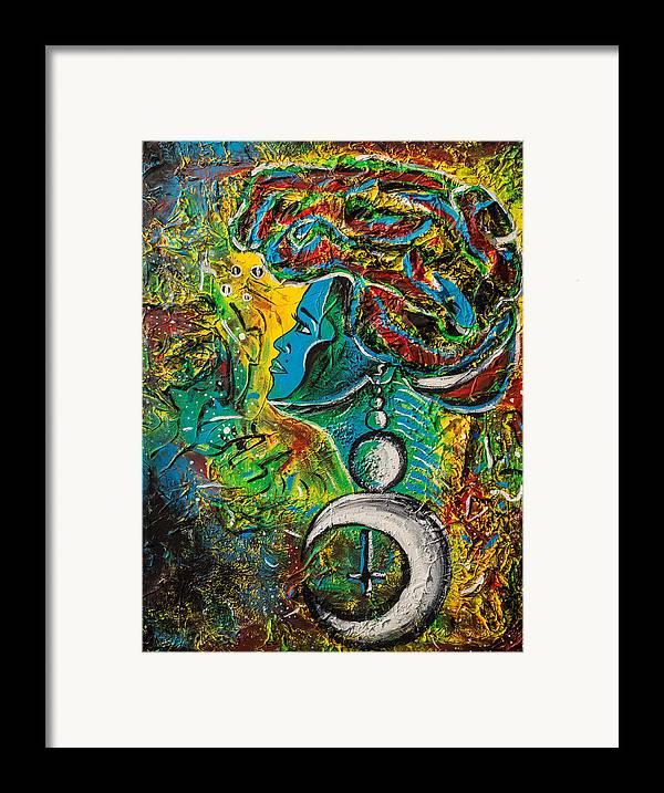 Visage Bleu Framed Print featuring the painting Visage Bleu by Kenal Louis