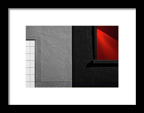 Abstract Framed Print featuring the photograph Vitrina Red Black by Gilbert Claes