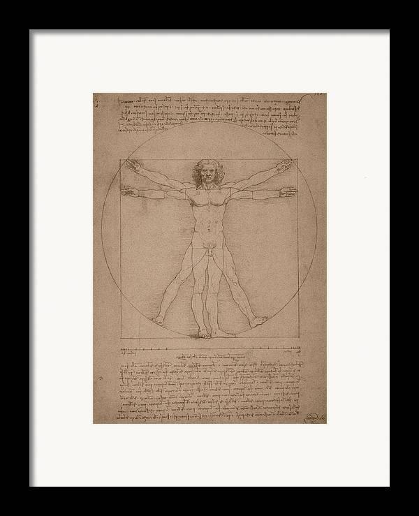 Leonardo Da Vinci Framed Print featuring the drawing Vitruvian Man by War Is Hell Store