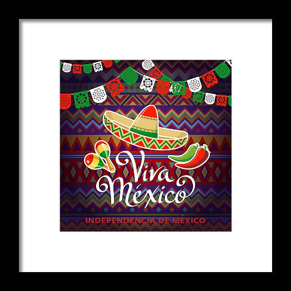 Mexican Hat Framed Print featuring the photograph Viva Mexico Independence Celebration by Exxorian