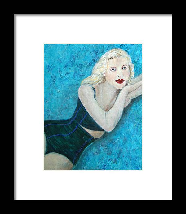 Swimsuit Framed Print featuring the painting Vivian Lady Of The Lake by The Art With A Heart By Charlotte Phillips