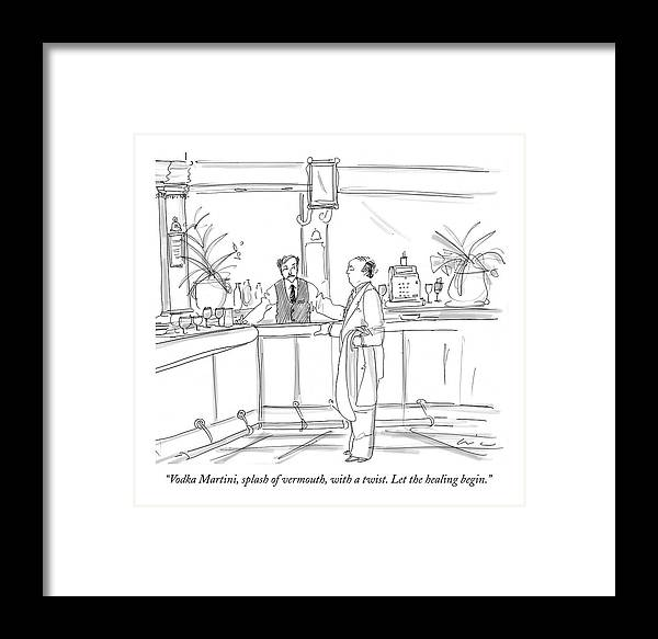 Dining Framed Print featuring the drawing Vodka Martini by Richard Cline