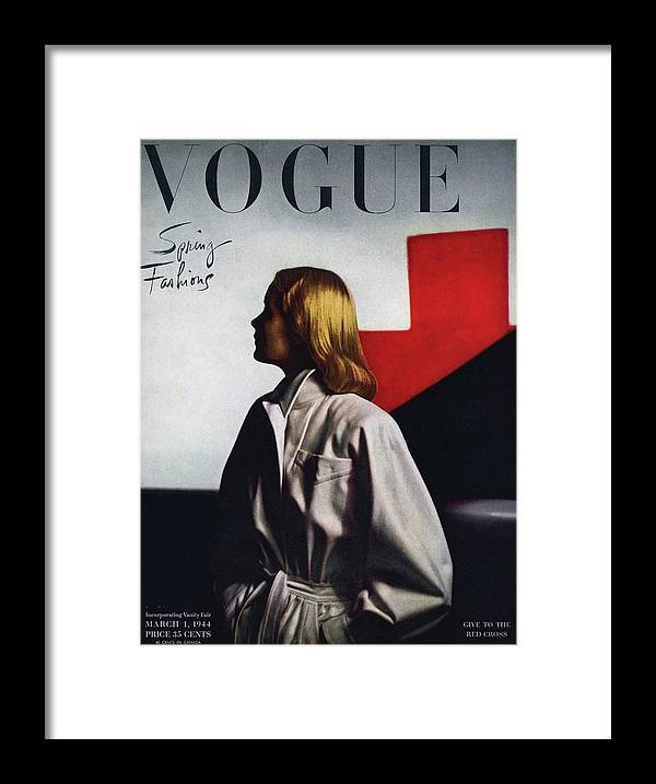 Fashion Framed Print featuring the photograph Vogue Cover Featuring A Model Wearing A White by Horst P. Horst
