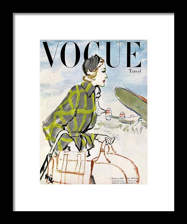 Illustration Framed Print featuring the photograph Vogue Cover Featuring A Woman Carrying Luggage by Carl Oscar August Erickson