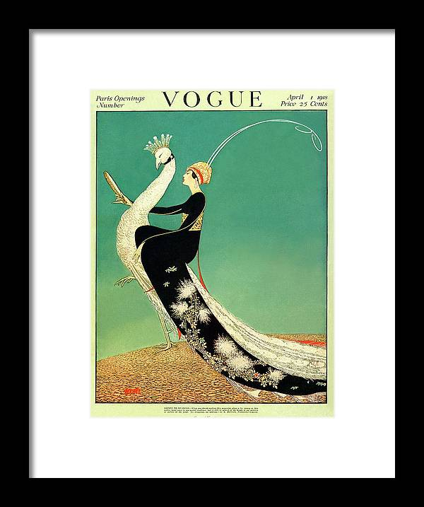 Illustration Framed Print featuring the photograph Vogue Cover Featuring A Woman Sitting On A Giant by George Wolfe Plank