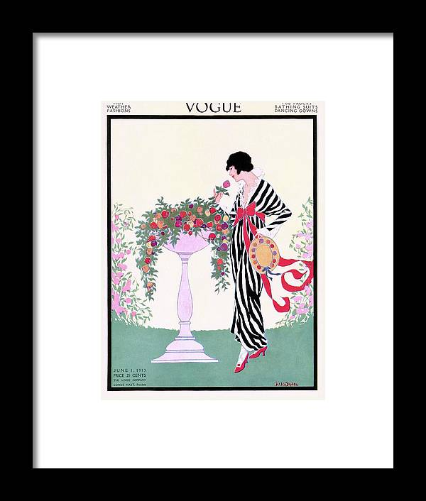 Illustration Framed Print featuring the photograph Vogue Cover Featuring A Woman Smelling A Rose by Helen Dryden