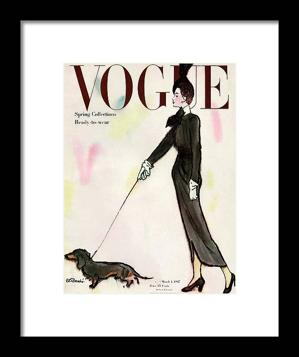 Fashion Framed Print featuring the photograph Vogue Cover Featuring A Woman Walking A Dog by Rene R. Bouche
