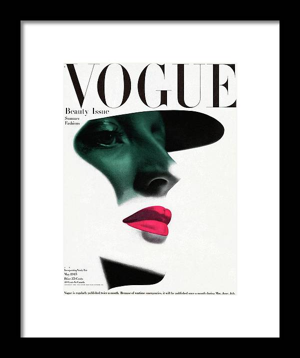 Fashion Framed Print featuring the photograph Vogue Cover Featuring A Woman's Face by Erwin Blumenfeld