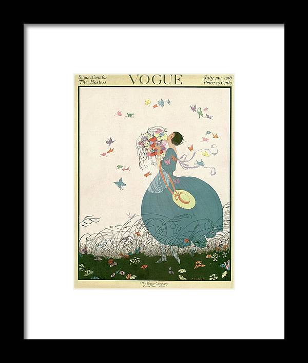 Illustration Framed Print featuring the photograph Vogue Cover Featuring Carrying A Bouquet by Helen Dryden