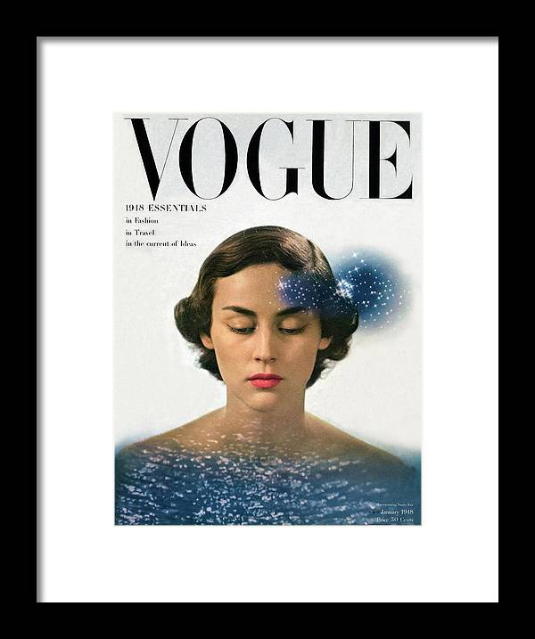 Model Framed Print featuring the photograph Vogue Cover Featuring Joan Petit by Herbert Matter