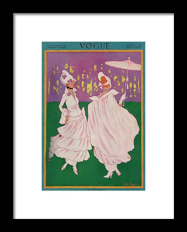 Illustration Framed Print featuring the photograph Vogue Cover Featuring Two Women In Pink Gowns by Helen Dryden