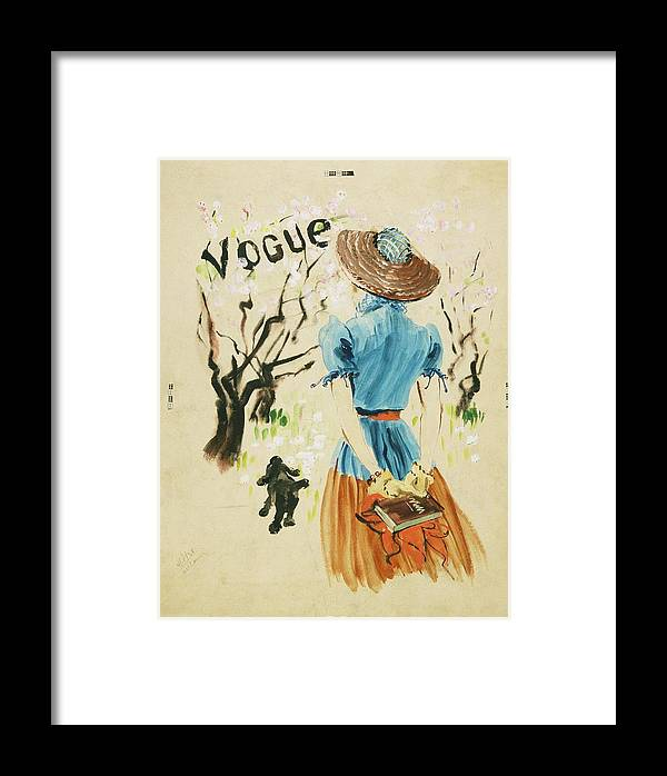 Animal Framed Print featuring the digital art Vogue Cover Featuring Woman Walking by Rene Bouet-Willaumez