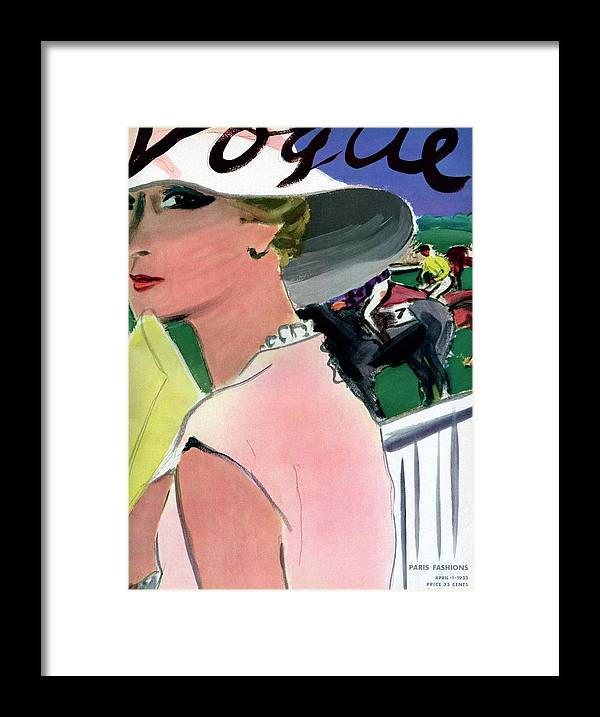 Illustration Framed Print featuring the photograph Vogue Cover Illustration Of A Woman by Carl Oscar August Erickson