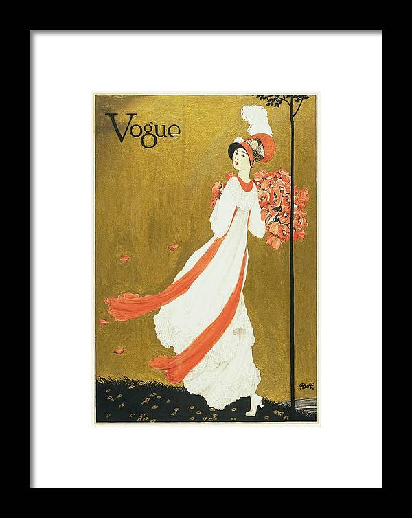 Fashion Framed Print featuring the digital art Vogue Cover Illustration Of A Woman Carrying by George Wolfe Plank