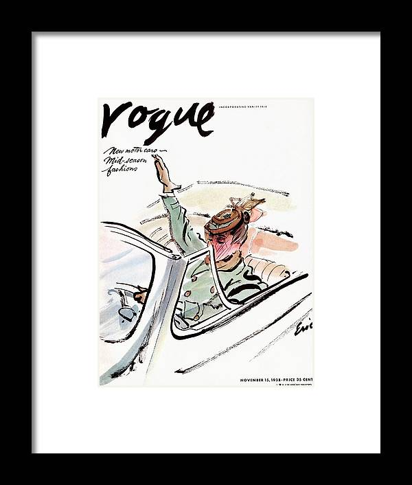 Illustration Framed Print featuring the photograph Vogue Cover Illustration Of A Woman Driving A Car by Carl Oscar August Erickson
