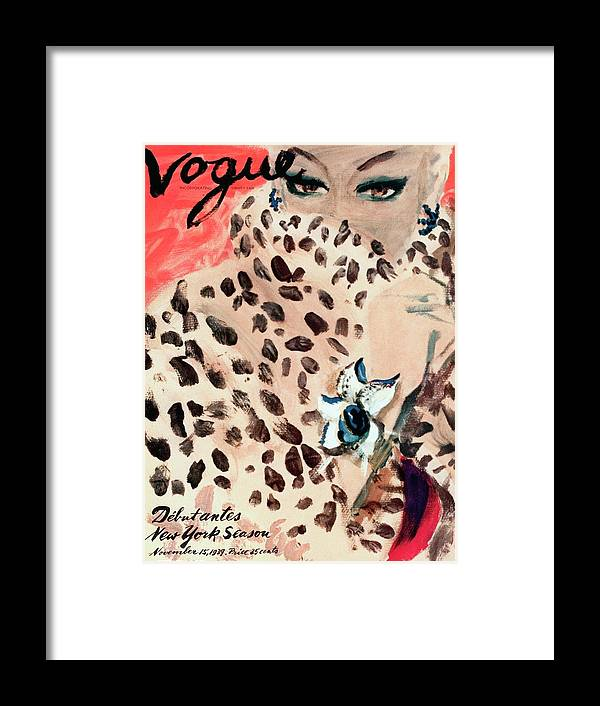 Illustration Framed Print featuring the photograph Vogue Cover Illustration Of A Woman Peering by Carl Oscar August Erickson
