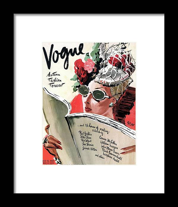 Fashion Framed Print featuring the photograph Vogue Cover Illustration Of A Woman Reading by Rene Bouet-Willaumez