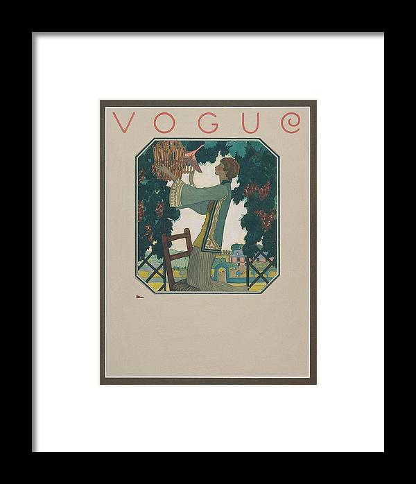 Animal Framed Print featuring the digital art Vogue Cover Illustration Of A Woman Releasing by Leslie Saalburg