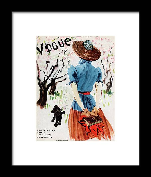 Illustration Framed Print featuring the photograph Vogue Cover Illustration Of A Woman Walking by Rene Bouet-Willaumez