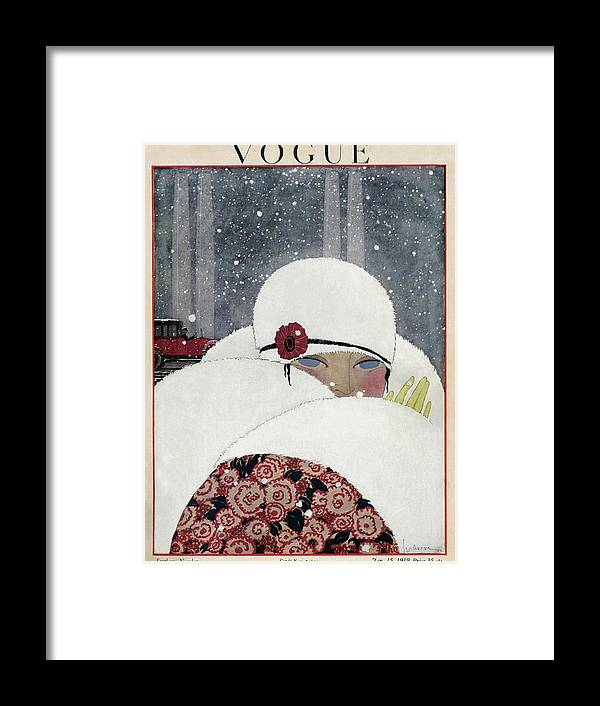 Illustration Framed Print featuring the photograph Vogue Cover Illustration Of A Woman Wearing A Fur by Georges Lepape
