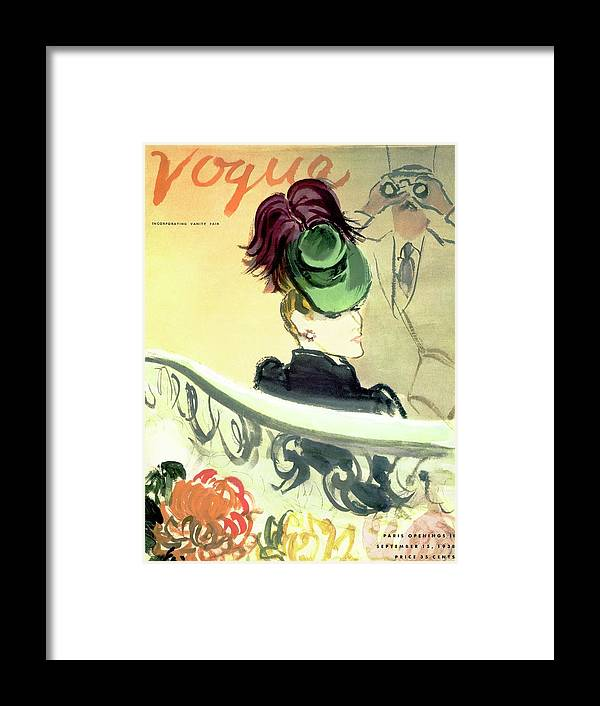 Illustration Framed Print featuring the photograph Vogue Cover Illustration Of A Woman Wearing by Carl Oscar August Erickson