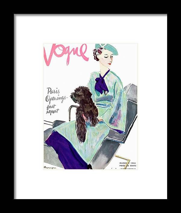 Illustration Framed Print featuring the photograph Vogue Cover Illustration Of A Woman With Dog by Pierre Mourgue