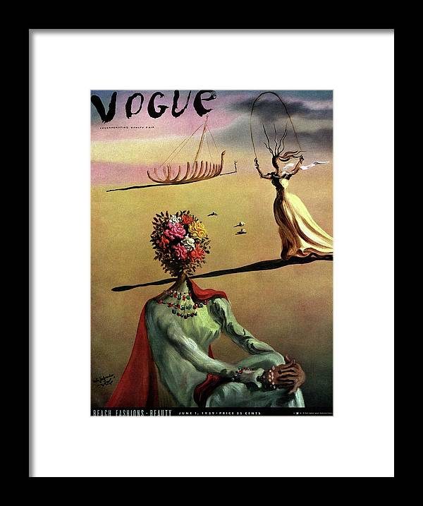 Illustration Framed Print featuring the photograph Vogue Cover Illustration Of A Woman With Flowers by Salvador Dali