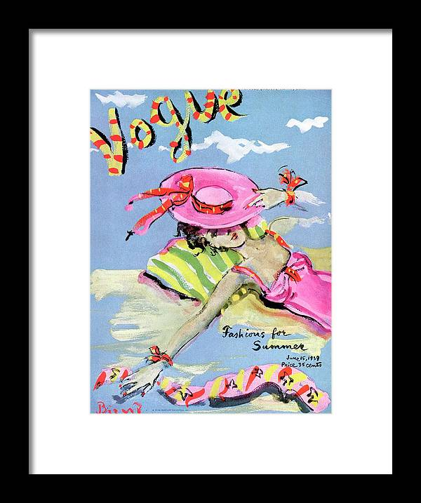 Illustration Framed Print featuring the painting Vogue Cover Illustration Of A Woman With Her Face by Christian Berard