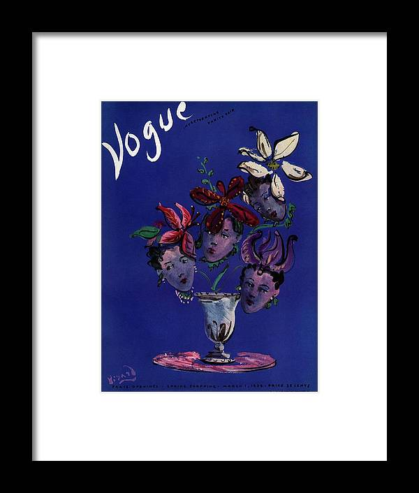 Illustration Framed Print featuring the photograph Vogue Cover Illustration Of Four Female Faces by Christian Berard