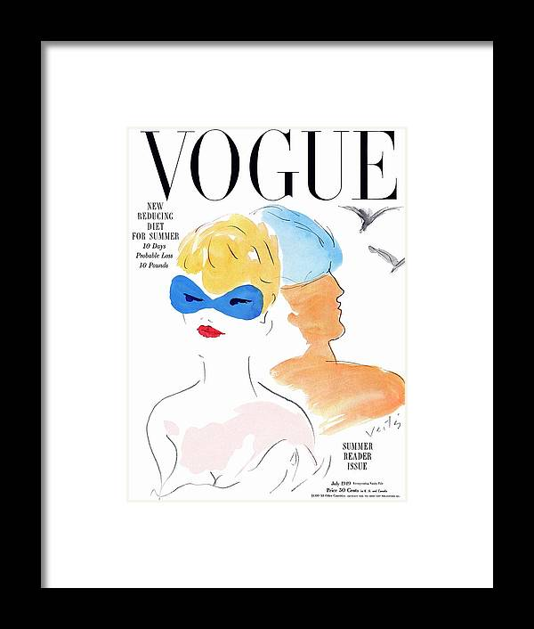 Fashion Framed Print featuring the photograph Vogue Cover Illustration Of Two Women Standing by Marcel Vertes
