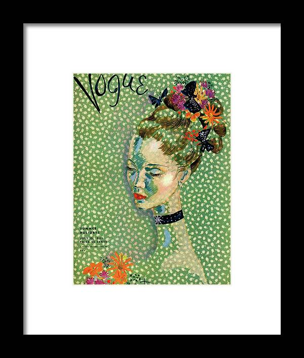 Illustration Framed Print featuring the photograph Vogue Magazine Cover Featuring A Woman by Cecil Beaton