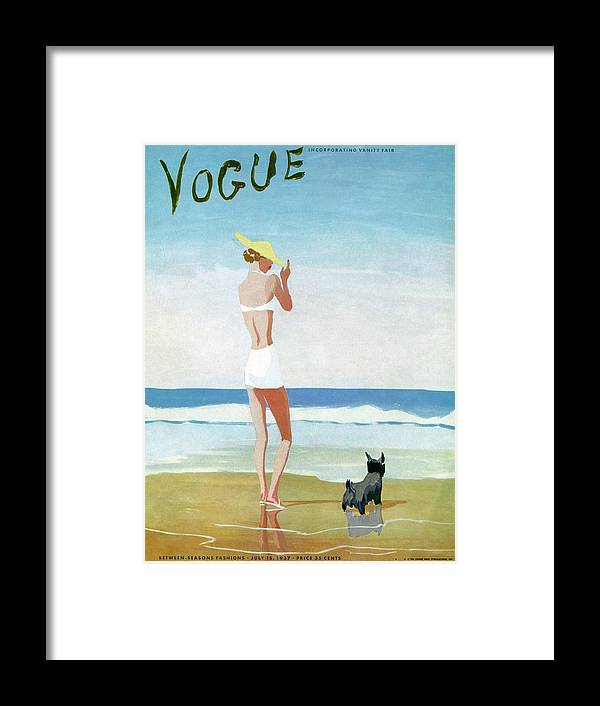 Animal Framed Print featuring the painting Vogue Magazine Cover Featuring A Woman On A Beach by Eduardo Garcia Benito