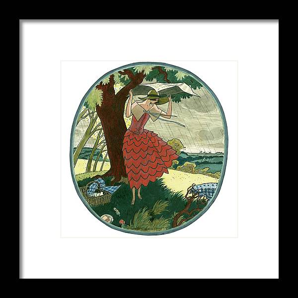Fashion Framed Print featuring the digital art Vogue Magazine Illustration Of A Woman Protecting by Leslie Saalburg
