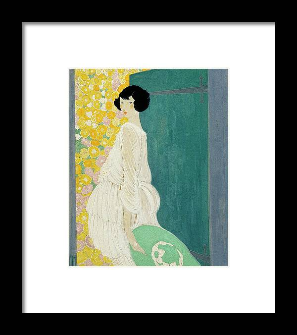 Fashion Framed Print featuring the digital art Vogue Magazine Illustration Of A Woman Standing by Helen Dryden