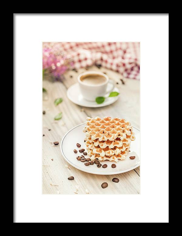 Breakfast Framed Print featuring the photograph Waffles With Coffee by Da-kuk