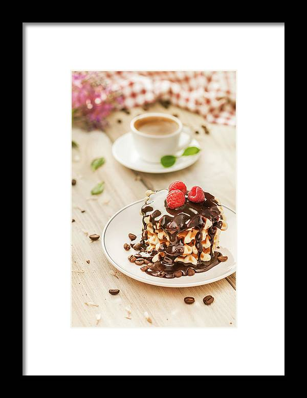 Breakfast Framed Print featuring the photograph Waffles With Raspberry, Chocolate Sauce by Da-kuk