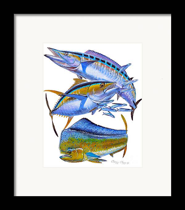 Wahoo Framed Print featuring the painting Wahoo Tuna Dolphin by Carey Chen