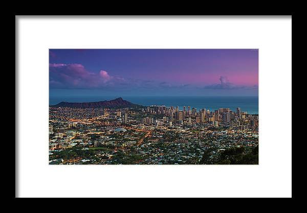 Tranquility Framed Print featuring the photograph Waikiki And Diamond Head At Sunset by J. Andruckow