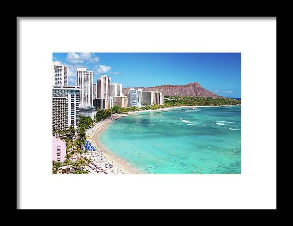Water's Edge Framed Print featuring the photograph Waikiki Beach by M Swiet Productions