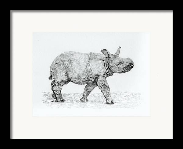 Baby Rhino Framed Print featuring the drawing Wait Up Mom by Wendy Brunell