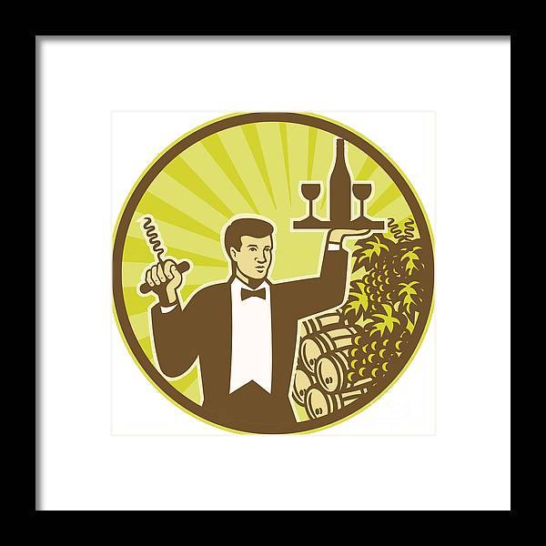 Waiter Framed Print featuring the digital art Waiter Serving Wine Grapes Barrel Retro by Aloysius Patrimonio