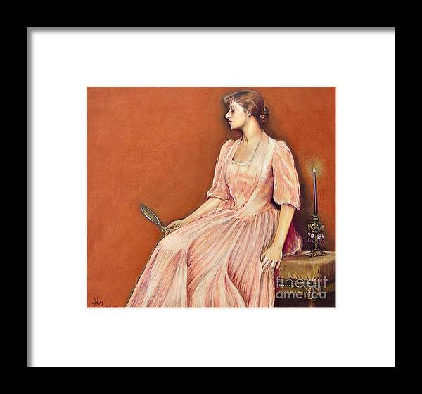 \victorian Woman\ Victorian \color Pencil\ Candle Vanity Waiting Mirror Framed Print featuring the drawing Waiting @ Ariesartist.com by AriesArtist Com