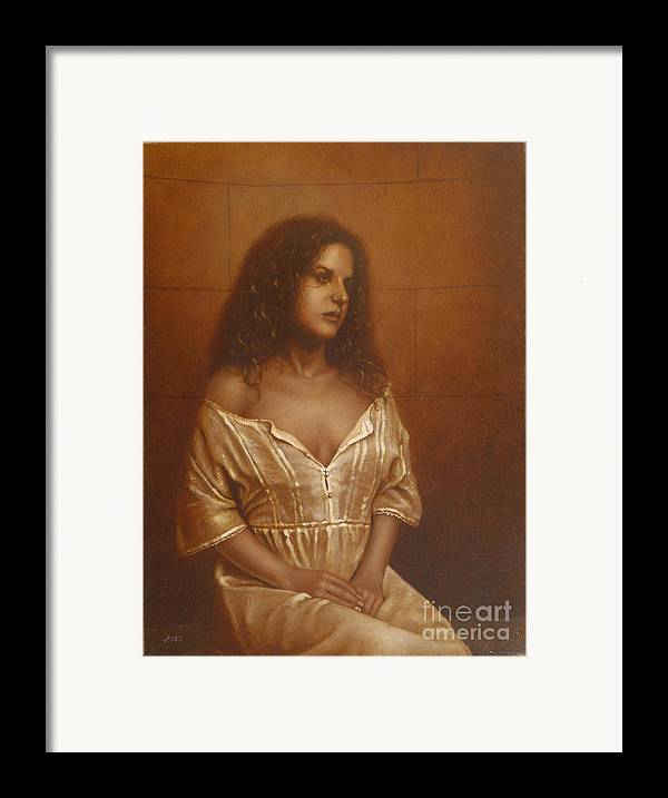 Girl Framed Print featuring the painting Waiting For Her Lover by John Silver