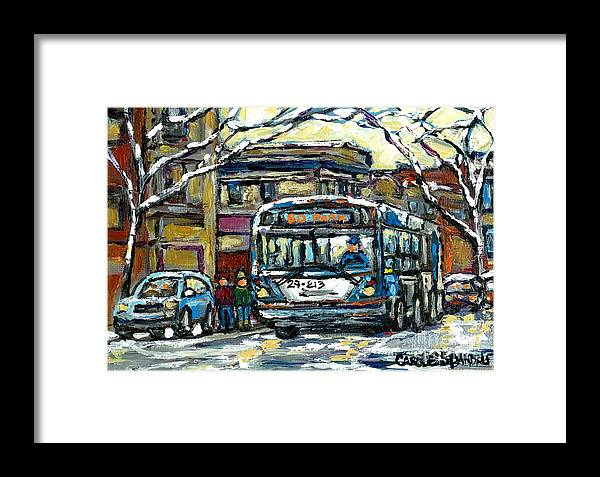 Montreal Framed Print featuring the painting Waiting For The 80 Bus Montreal Memories Winter City Scene Painting January Art Carole Spandau Art by Carole Spandau